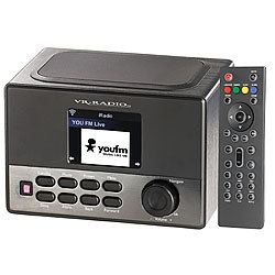 VR-Radio WLAN-Internetradio mit Wecker, USB-Ladestation, 8 Watt, 7,2 cm TFT VR-Radio Internetradios Wecker & USB Ladestationen