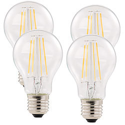 Luminea 4er-Set LED-Filament-Lampen, E27, A++, 6 W, 806 Lumen, 360°, warmweiß Luminea LED-Filament-Tropfen E27 (warmweiß)