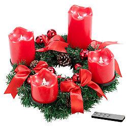 Weihnachtsdeko Led Kerzen.Britesta Dekokranz Adventskranz Mit Roten Led Kerzen Rot