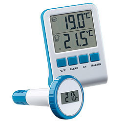 infactory Digitales Teich- und Poolthermometer mit LCD-Funk-Empfänger, IPX8 infactory Funk-Poolthermometer