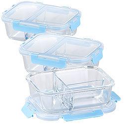 Besteck 3er-Set Glas-Frischhaltedosen Klick-Deckel 2 Kammern 840ml