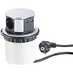 Ø 60 mm revolt Versteckte Tisch-Einbau-Steckdose USB-Port /& Alu-Zierblende