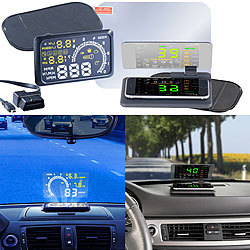 Lescars Head-up-Display HUD-55C für OBD2-Anschluss mit Armaturenbrett-Ablage Lescars Head-up-Displays (HUD) mit OBD und Smartphone-Ablage