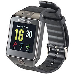 simvalley MOBILE Handy-Uhr & Smartwatch mit Kamera, Bluetooth 4.0, für iOS & Android simvalley MOBILE Handy-Smartwatches mit Kameras und Bluetooth für Android und iOS