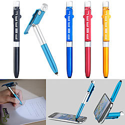 PEARL 4in1-Kugelschreiber mit LED-Lampe, Touchpen und Handy-Ständer, 5er-Set PEARL 4in1-Kugelschreiber mit Touchpens