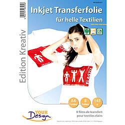 Your Design 8 T-Shirt Transferfolien für weiße Textilien A4 Inkjet Your Design T-Shirt-Druck-Folien