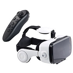 auvisio Virtual-Reality-Brille mit Headset & Game-Controller im Set, Bluetooth auvisio Virtual-Reality-Brillen mit Headsets für Smartphones