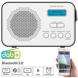 VR-Radio Mobiles Akku-Digitalradio mit DAB+ & FM, Wecker, Bluetooth 5, 8 Watt VR-Radio Digitales DAB+/FM-Koffer-Radios mit Bluetooth und Wecker