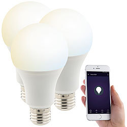Luminea Home Control 3er-Set WLAN-LED-Lampen, für Amazon Alexa & Google Assistant, E27, CCT Luminea Home Control E27-LED-Lampen, kompatibel zu Amazon Alexa & Google Assistant