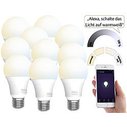 Luminea Home Control 10 WLAN-LED-Lampen, E27, 800 lm, für Alexa & Google Assistant, CCT Luminea Home Control WLAN-LED-Lampen E27 weiß