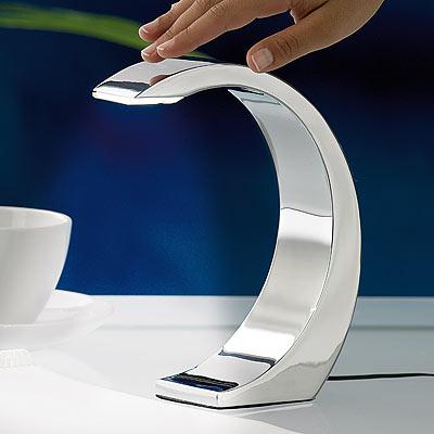Lunartec 1watt led design tischlampe silver moon mit for Moderne nachttischlampe