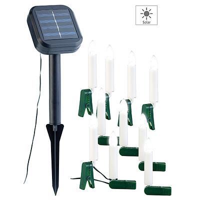 Lunartec Solar-Lichterkette für Außen mit 10 flackernden LED-Kerzen