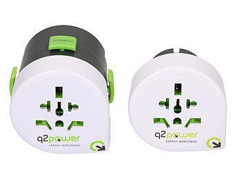 Weltreisestecker 2-teilig mit USB-Ladegerät 2.1 A / Reiseadapter