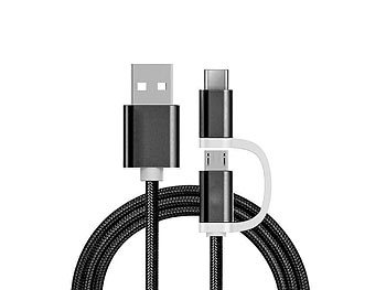 Ladekabel 2in1 USB Micro & Type C, 1 Meter, Schwarz-Nylon