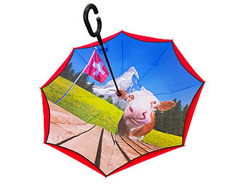 Regenschirm, Ethno, Inside-Out-Regenschirm, 100% Polyester / Regenschirm