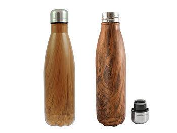 SUSTAIN Thermosflasche mit Holzfinish, 500 ml / Thermoskanne