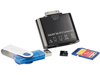 Callstel 5in1-Speicheradapter für Galaxy Tab (30Pin): USB, SD, microSD, MS, M2 Callstel Connection Kits für Samsung