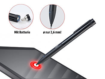 Callstel Aktiver Touchscreen-Eingabestift, 2,6-mm-Spitze, Slim-Body Callstel Aktive Touchscreen Eingabestifte