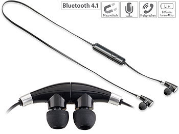 Sport Headset: auvisio In-Ear-Stereo-Headset mit Magnet, Bluetooth 4.1