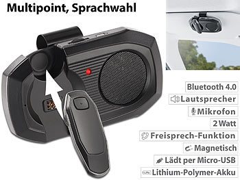 Kfz-Freisprechanlage m. abnehmbarem Headset, Bluetooth 4.0, Multipoint / Freisprechanlage