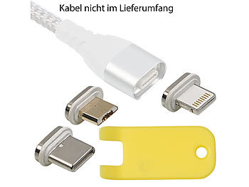 Magnet Ladekabel iPhone: Callstel Magnet-Adapter-Set mit Micro-USB-/Lightning-/Typ-C-Stecker für LDK-100