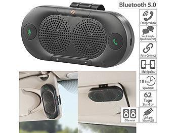 Stereo-Kfz-Freisprecher mit Bluetooth 5, Siri- und Google-kompatibel / Freisprecheinrichtung