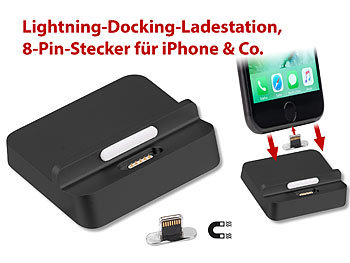 Callstel Lightning-Docking-Ladestation, magnet. 8-Pin-Stecker für iPhone & Co. Callstel Docking-Stationen mit magnetischen Lightning-Steckern