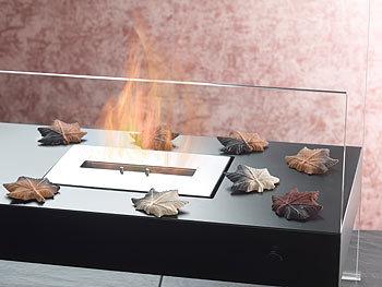 carlo milano tischkamin deko material keramik feuerdekoration ahornbl tter f r bio ethanol fen. Black Bedroom Furniture Sets. Home Design Ideas