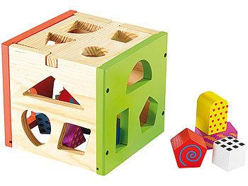 Spannender Steckspiel-Würfel aus Echtholz / Babyspielzeug