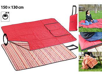 3in1-Multi-Picknickdecke mit Sitzkissen & Zudecke, waschbar, 150x130cm / Picknickdecke