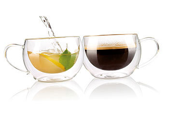 Doppelwandiges Kaffee- & Tee-Glas, 2er-Set / Doppelwandige Gläser