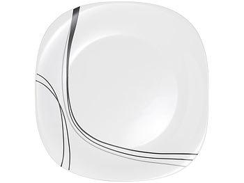 rosenstein s hne opalglas geschirr opalglas tafelservice mit schwarzem dekor 19 teilig. Black Bedroom Furniture Sets. Home Design Ideas