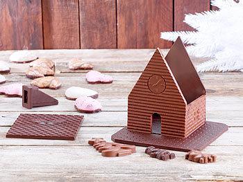 """2er Pack 3D Schokoladen-Gussformen-Set /""""Weihnachtshaus/"""" Schoko Form Weihnachten"""