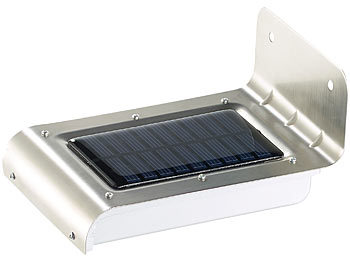 luminea licht ohne strom edelstahl led solar wandleuchte licht bewegungssensor 48 lm 0 5w. Black Bedroom Furniture Sets. Home Design Ideas