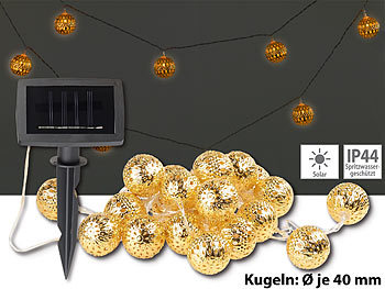 lunartec lichterketten ohne strom solar led lichterkette 20 goldene leuchtkugeln warmwei. Black Bedroom Furniture Sets. Home Design Ideas