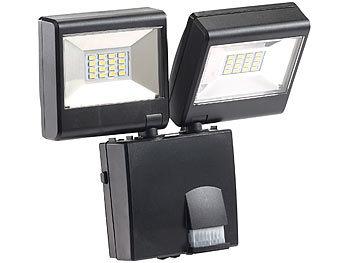 luminea au enbeleuchtung duo led au enstrahler mit pir sensor 16 watt lm ip44 led. Black Bedroom Furniture Sets. Home Design Ideas