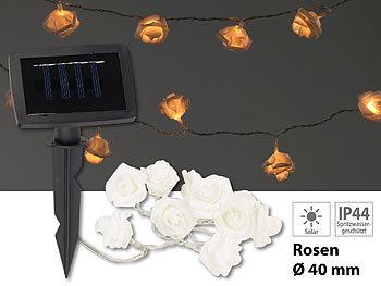 lunartec solar ketten solar led lichterkette mit 10 wei en rosen warmwei ip44 1 m. Black Bedroom Furniture Sets. Home Design Ideas