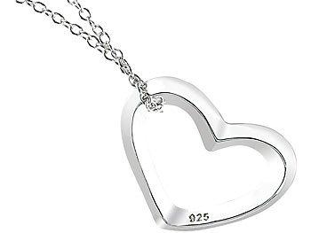 Echtsilber-Herzanhänger mit Kette Silberketten 925 Sterling-Silber
