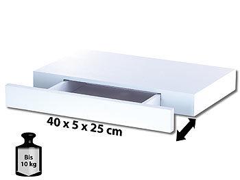 Carlo Milano Wandregal mit versteckter Schublade, 40 x 5 x 25 cm, weiß Carlo Milano Wandregale mit Schublade