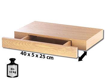Carlo Milano Wandregal mit versteckter Schublade, 40 x 5 x 25 cm, Nussbaum-Optik Carlo Milano Wandregale mit Schublade