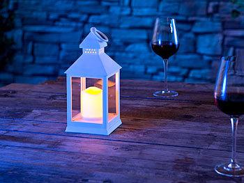 lunartec flackerlicht laterne mit flackernder led kerze und timer batteriebetrieb wei. Black Bedroom Furniture Sets. Home Design Ideas