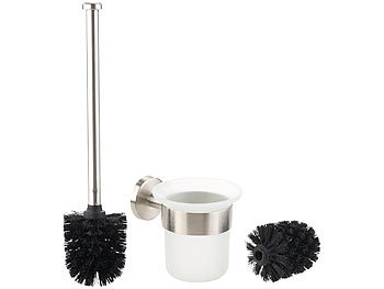 Edelstahl/Glas-WC-Garnitur, Wandmontage, 2 Bürsten-Aufsätze, schwarz / Toilettenbürste