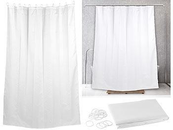 Textil Anti-Schimmel-Duschvorhang weiss, 180 x 200 cm, 12 Ringe / Duschvorhang