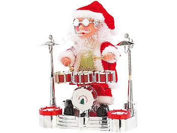 Singender Schlagzeuger-Weihnachtsmann mit LED-Lichtershow / Weihnachtsmann