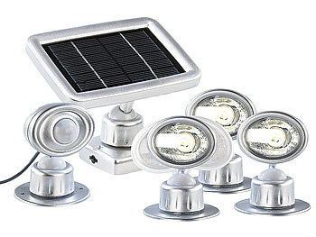 Fabulous Lunartec 3 LED-Strahler mit Solar-Panel & PIR-Bewegungsmelder ZH68