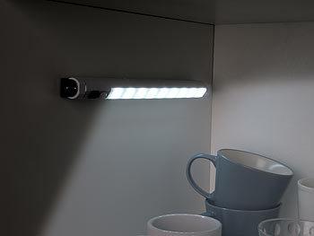 2×LED Schrank Lichtleiste W// Bewegungsmelder Kabellos Kaltweiß Batteriebetrieben