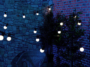 Lunartec Party-Lichterkette, 20 weißen LEDs (Glühbirnenform), 8 Watt, 9 m, IP44 Lunartec Party-LED-Lichterketten in Glühbirnenform