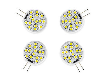 Luminea LED-Stiftsockellampe, 15 SMD LEDs, G4 (12V), ww, vertikal 4er Luminea LED-Stifte G4 (warmweiß)