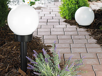 lunartec solar kugelleuchten led solar kugellampe mit erdspie 20 cm tageslichtwei ip44. Black Bedroom Furniture Sets. Home Design Ideas