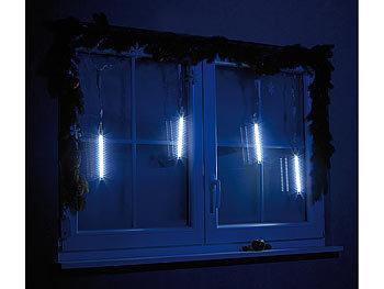 Weihnachtsbeleuchtung Eiszapfen Lauflicht.Lunartec Eiszapfen Lichterkette Led Leuchtstäbe Mit Schneefall